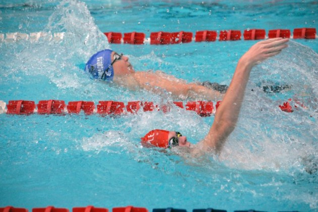 Lake Audubon's Spencer Harris (bottom) and Jeremiah Noser-Munoz compete in the Boys 13-14 50-meter Backstroke/RSTA
