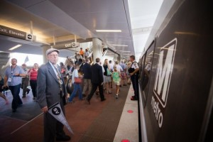 Some of the Silver Line's first passengers on July 26, 2014