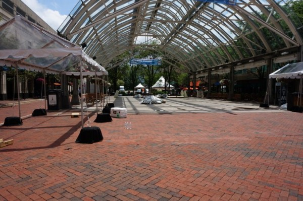 An empty Reston Town Center Pavilion after World Police & Fire Games load out.