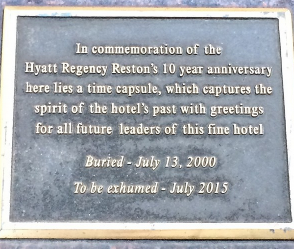 Time capsule at Hyatt Regency Reston