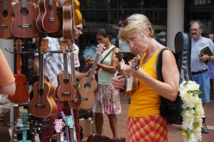 Shopping for ukuleles at 2014 festival