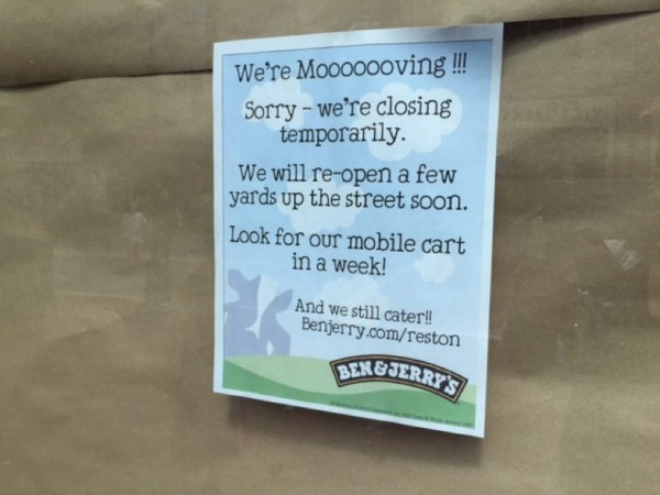 Sign at Ben & Jerry's/Credit: Jennifer Heffner