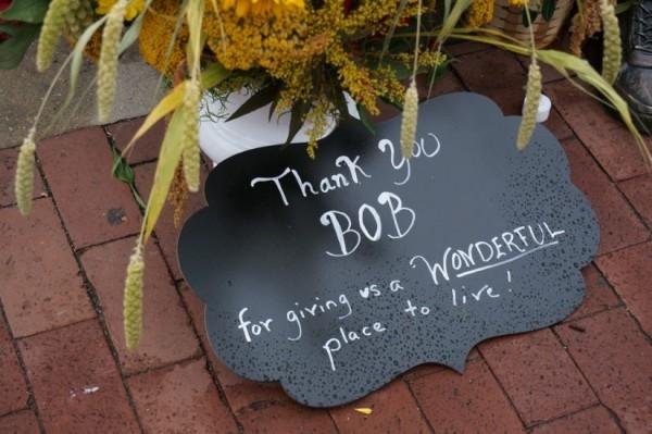 Sign near Bronze Bob statue at Lake Anne Plaza