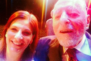Reston Now editor Karen Goff and Bob Simon take a selfie on his 100th birthday