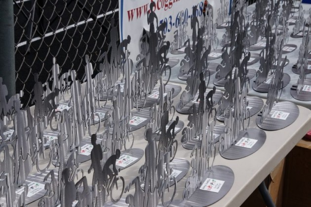 Trophies at 2015 Reston Triathlon