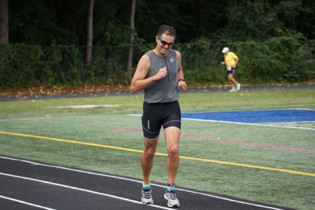 Reston's Dean Klein nears the finish line of his first triathlon