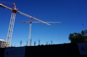 Crane at new residential construction in Reston