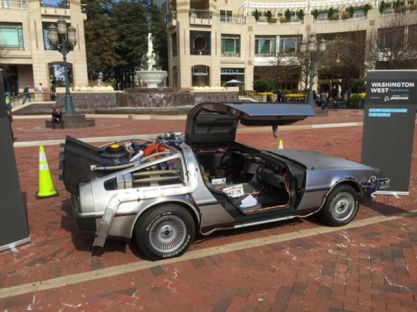 """Back to the Future"" DeLorean at Reston Town Center/Credit: Shawn Wilson via Twitter"