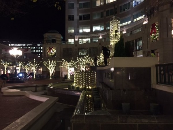 Holiday lights at Reston Town Center