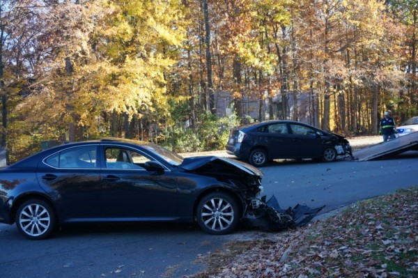 Car crash at South Lakes Drive and Ridge Heights Road