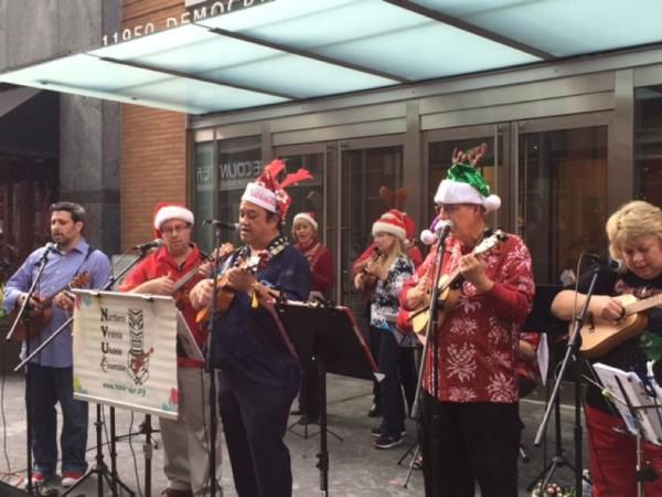 Christmas ukuleles at Reston Town Center