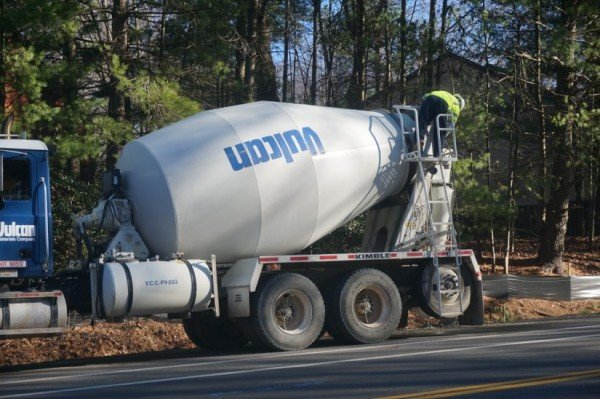 Concrete mixer working on Soapstone Drive