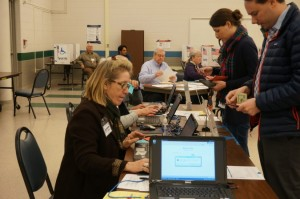 Super Tuesday voters check in at South Lakes HS polling place