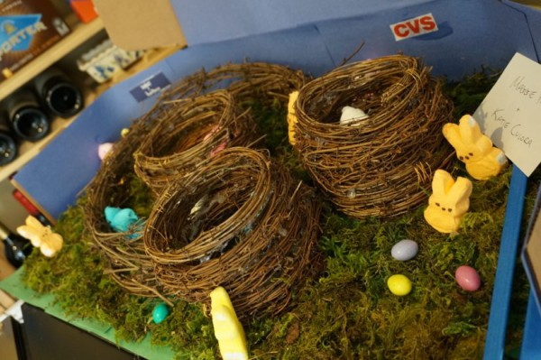 """A Bird in Hand"" by Patrick Dougherty recreated with Peeps"