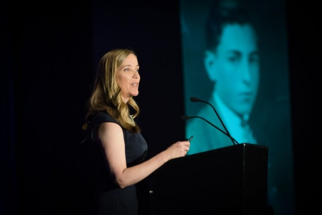 Kristina Alcorn, author, speaks at tribute to Bob Simon/Credit: RCC