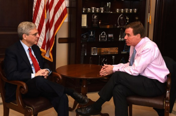 Virginia Sen. Mark Warner (right) and Supreme Court nominee Merrick Garland met on Wednesday, April 13/Courtesy Warner's office