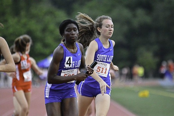 Sarah Wolfe (R) and senior Golden Kumi-Darfour helped set a record in the 4x800 relay/Credit: SLHS