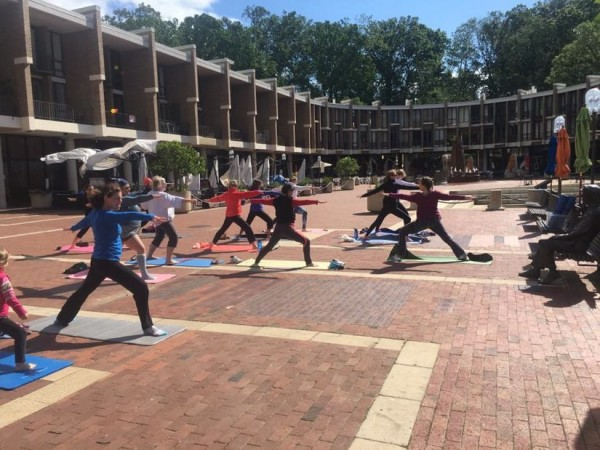 Outdoor Sunday yoga at Lake Anne Plaza/Credit: Lake Anne Plaza