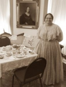 """Elizabeth Cady Stanton"" at tea in Vienna/Credit: Town of Vienna"