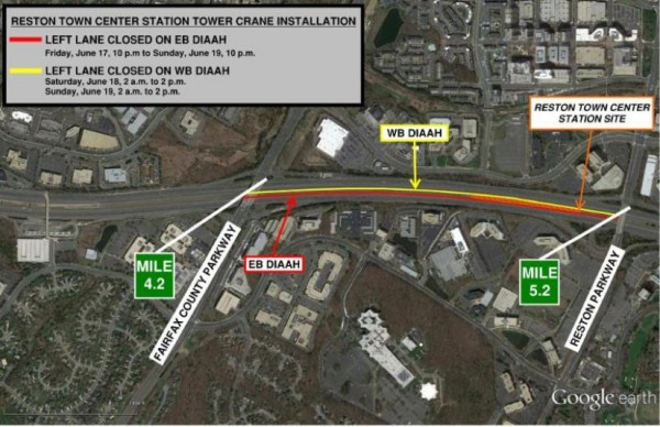 Work on Dulles Airport Road June 17-19/Credit: Dulles Corridor Metrorail Project