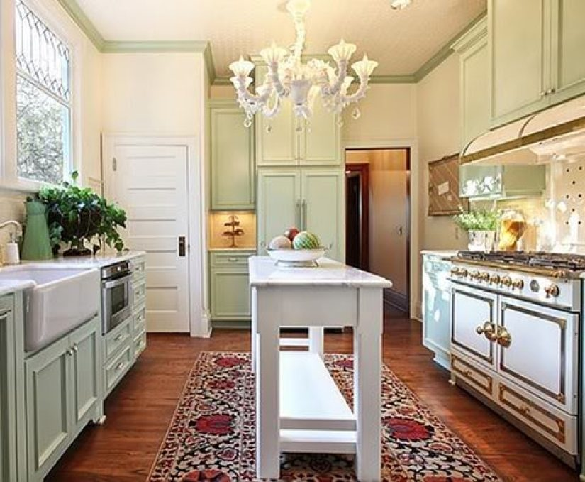 In the design studio small kitchens reston now for Island in small galley kitchen