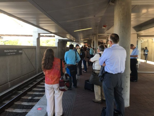 Waiting for a train at Wiehle-Reston East June 6/Credit: Chris Pyburn ‏via Twitter