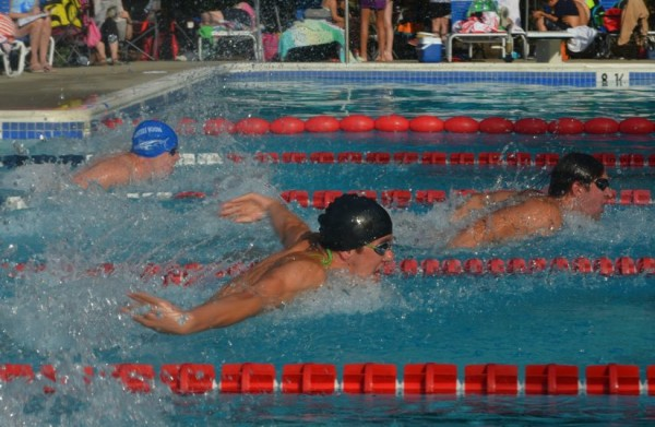 Robby Cordts (Lake Audubon), John Hughes (Lake Audubon), and William Harvey (Hunters Woods) compete in the Boys 15-18 Butterfly/Credit: RSTA