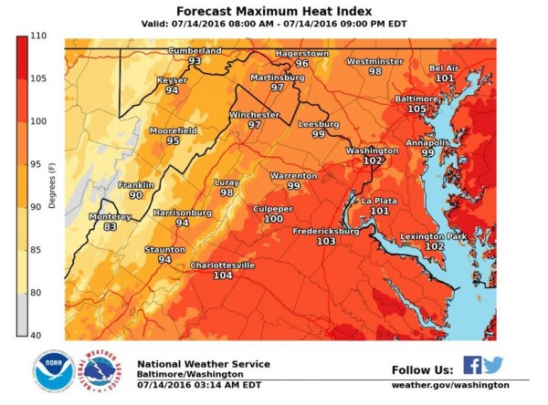 Heat index for July 14, 2106/Credit: NWS