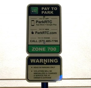 RTC Parking sign