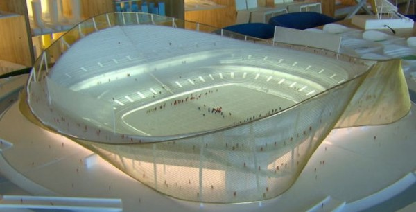 "Model of new Redskins stadium/ Bjarke Ingels Architects; ""60 Minutes"""