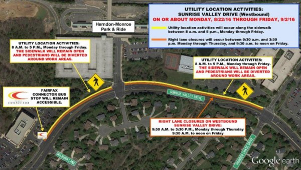 Work Aug. 22-Sept.2 on Sunrise Valley Drive/Credit: Dulles Corridor Metrorail Project