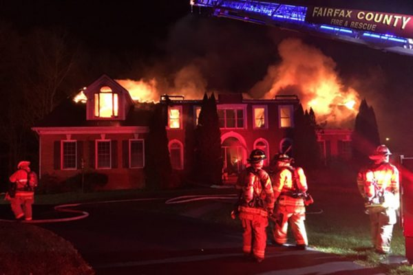 Home burned down in Great Falls Sunday, photo courtesy of Fairfax County Fire and Rescue