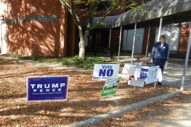 Campaign signs outside the North County Government Center polling place, Election Day 2016.