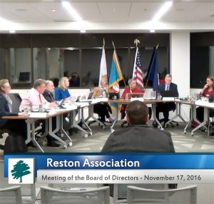 RA Board meeting (Photo via Reston Association)