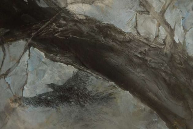 """A painting by Pat Macintyre entitled """"Winter Crows"""" is part of the exhibit."""