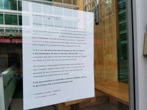 Day Without Immigrants sign at Sweetgreen