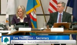 Eve Thompson/Reston Association Board meeting/Feb. 23, 2017