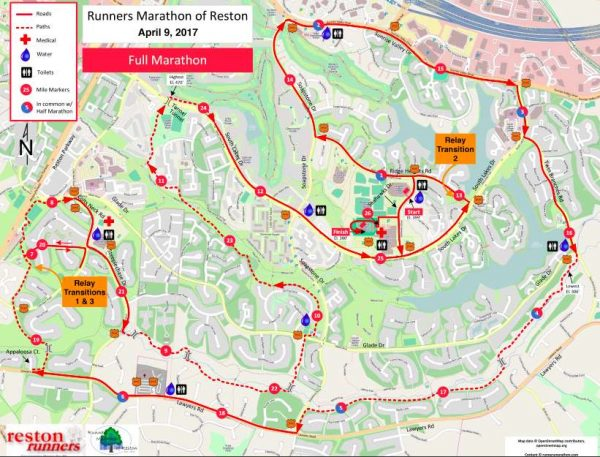 2017 Reston Runners Marathon course map