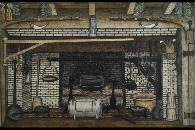 John Furches – Dry Point etching of Colonial Fireplace