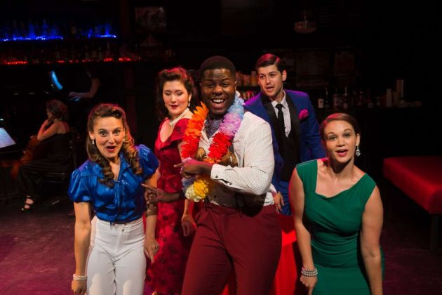 "Marquise White (Center) leads a toe-tapping arrangement of ""Honey Bun"" from South Pacific with (L-R) Karen Vincent, Sarah Anne Sillers, Matthew Hirsh, and Katherine Riddle. (Photo by Lock and Company)"