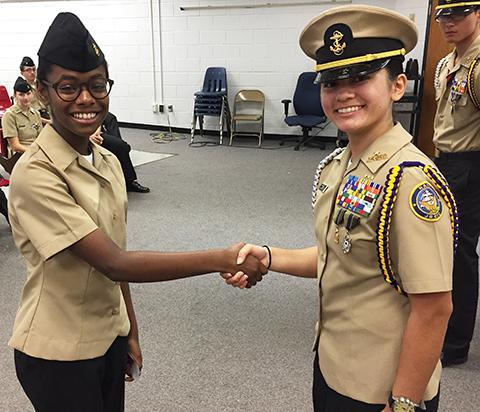Top cadets were recognized for academics, drill, and physical fitness during summer camp. (FCPS)