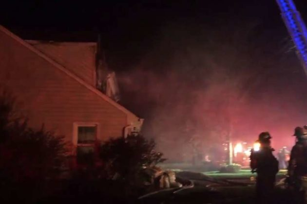 Screenshot of video of Reston house fire (via @ffxfirerescue)