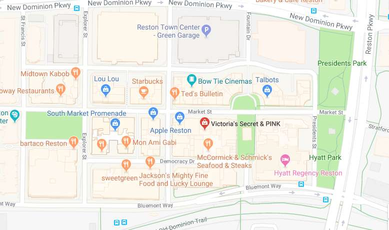 Reston Town Center Map Reston Now » Victoria's Secret in Reston Town Center (Map via
