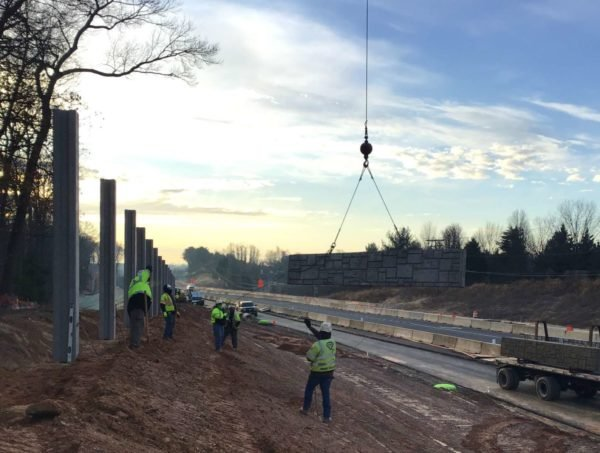 Nosie Barrier being installed along Route 7, between Reston Avenue and Utterback Store Road (Photo courtesy of VDOT)